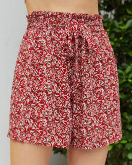 Pleated Floral Printed Lace Up Polyester Casual Straight Shorts