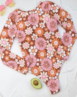 Printed Zipper Jewel Neck Raised Waist beach One Piece Swimsuits
