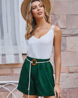 Raised Waist Sash Polyester Casual Shorts