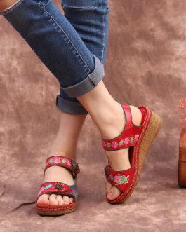 Retro Ethnic Floral Print Adjustable Hook Loop Comfy Sandals