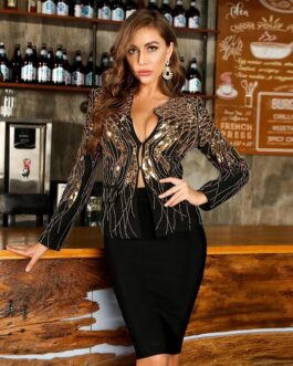 Sequins Tops and Short Skirts Runway Party 2Pieces Bandage Sets