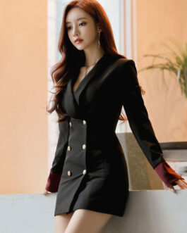 Sexy Casual Slim Button Business Front Military Style Mini Dress