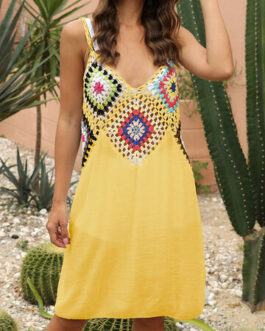 Sexy Embroidery Crochet Backless Beaches Holiday Dress