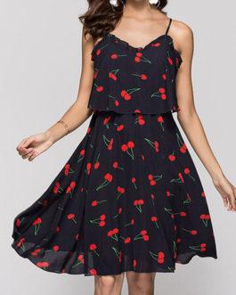 Sexy Floral Print Backless Adjustable Strap V-Neck Dress