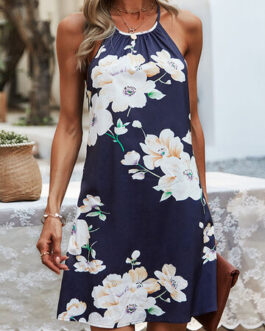Sexy Flower Print Halter Backless Holiday Dress