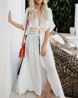 Sexy Lace Insert Tie Front Beach Cover Up Swimsuit