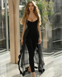 Sexy Stapless Lace Bodysuit Romper Long Bodycon Jumpsuits
