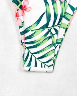 Sexy Tropical Leaf Print Underwire Holiday Bikini