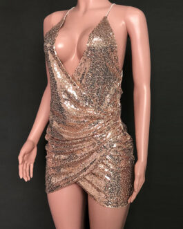 Straps Neck Sequins Sleeveless Polyester Irregular Sexy Dress
