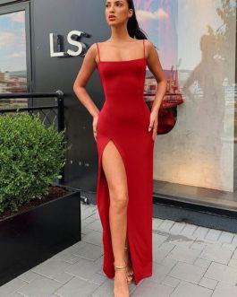 Straps Neck Split Front Sleeveless Open Shoulder Semi Formal Dress