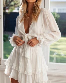 V Neck Knotted Sun Dress