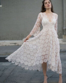 V-Neck Long Sleeves Lace Long One Piece Dress