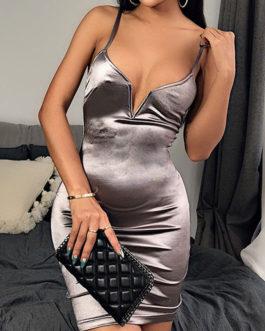 V Neck Sleeveless Polyester Backless Sexy Dress
