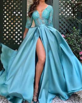 V-Neck Split Front 34 Length Sleeves Layered Semi Party Dress