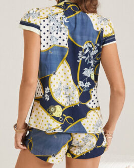 Vintage Floral Dot Ethnic Print Knotted Collar Two-Piece Suit