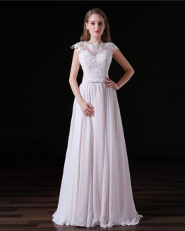 A line Lace Sexy Backless Floor Length Chiffon Gown Bride Dresses