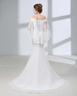 Boat Neck Beaded Lace Up Plus Size Long Wedding Gown