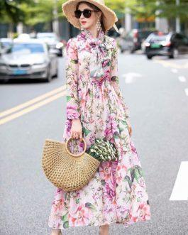 Charming Flower Print Bohemian Chiffon Floor-Length Dresses