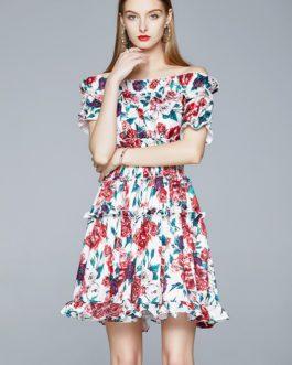 Charming Rose Flower Print Ruffles Elastic Waist Short Dress