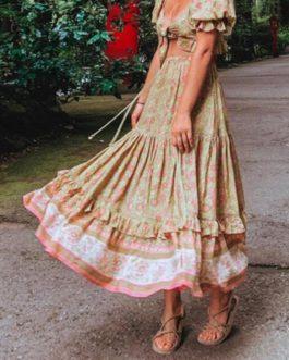 Elastic Waist Maxi Long Skirt Half Sleeve Shirt Holiday 2 Pieces Set