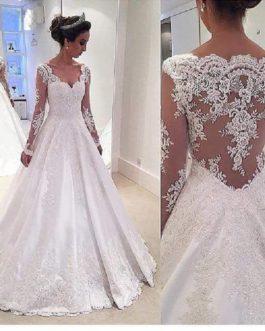 Lace Plus Size A Line Long Sleeves Cap Shoulder Bridal Gown