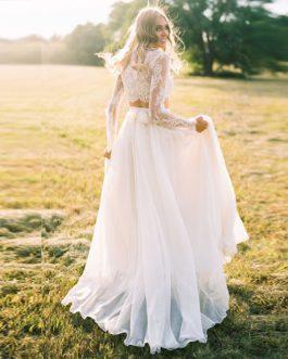Long Sleeves Two Piece Beach Boho Lace Bride Dress
