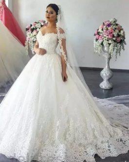 Off Shoulder Ball Gown Princess Beads Lace Applique Bride Dress
