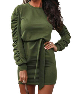 Office Lady O-Neck Pure Party Long Sleeve Mini Dress