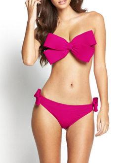 Sexy Crisscross Designed Bow Trim Bikini