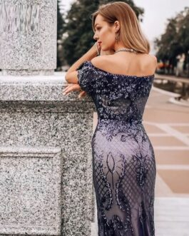 Sexy Off The Shoulder See-Through In Waist Reflective Long Dress