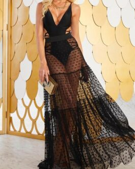 Sexy Polka Dot High Waist Transparent Skirt Cover Ups