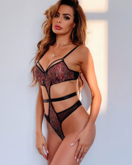 Sexy Printed Lace Backless Polyester Lingerie Teddies
