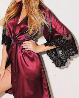 Sexy Silky Mini Robe Lace Trimmed Bell Sleeves