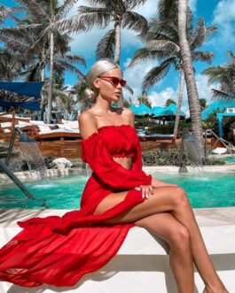 Sexy Solid Mesh Tunic Robe Beach Bikini Cover-Ups