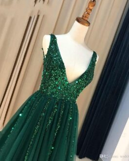 Sexy V-neck A-line Seqin Beaded Zipper Back Formal Evening Gowns