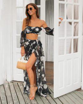 Sexy Vintage Long Sleeve Print Bikini With Skirt Long Cover Up