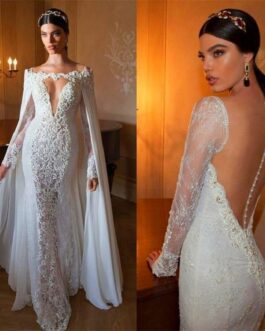 V Neck Beads Long Sleeves Bride Wedding Gown Dress