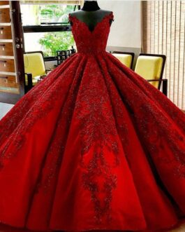 V Neck Crystals Beaded Appliques Lace Arabia Bride Dress