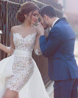 V-Neck Detachable Train Appliques Lace Bridal Wedding Dress