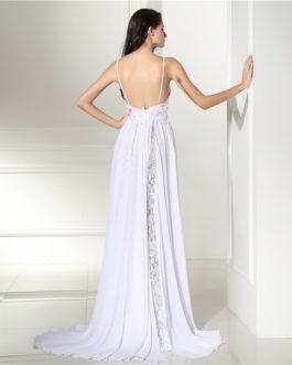 Vintage Boho Spaghetti Straps Lace Backless With Split Bride Dress