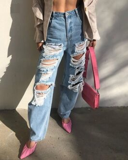 Casual Ripped Hole High Waist Loose Streetwear Jeans