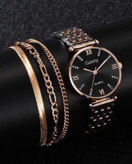 Crystal Diamond Steel Strap With Bracelet Set Watches