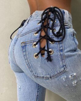 Sexy High Waist Hollow Out Lace UP Design Straight Jeans